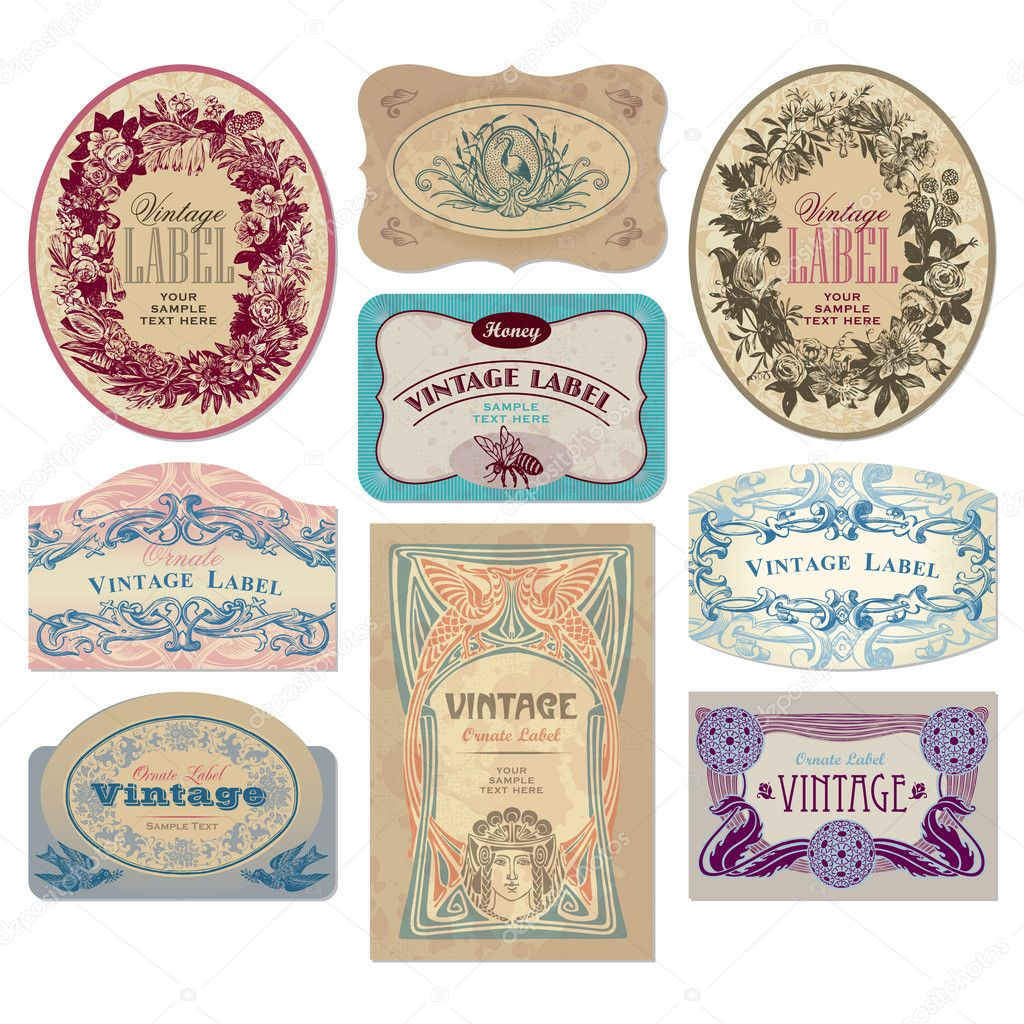 Set of vintage labels, scalable and editable vector illustrations; — Stock Vector #3526057