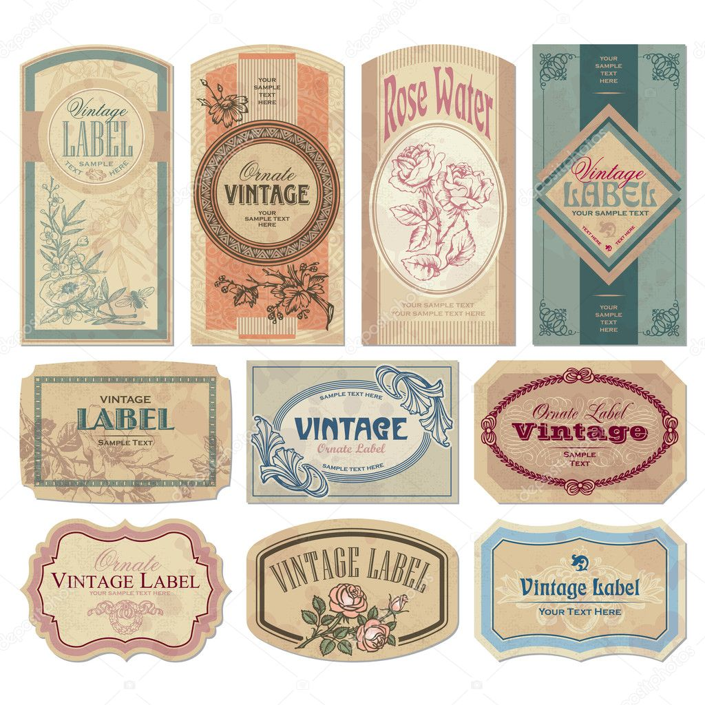 Set of vintage labels, scalable and editable vector illustrations; — Imagen vectorial #3526062
