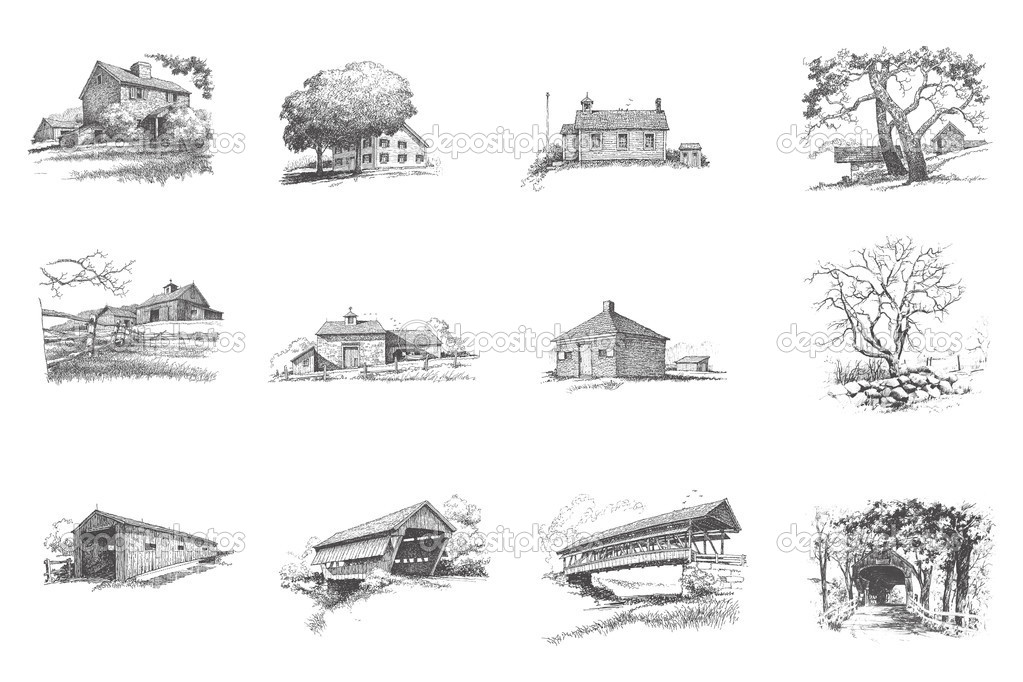 Silhouettes of rural houses — Stock Photo #2692443