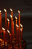Burning candles in Christian church — Stock Photo