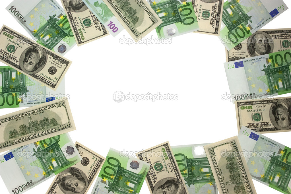 Euros and dollars isolated on white background — Stock Photo #2746029