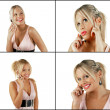 Stock Photo: Female blonde beauty using cell phone