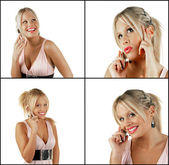 Female blonde beauty using cell phone — Stock Photo