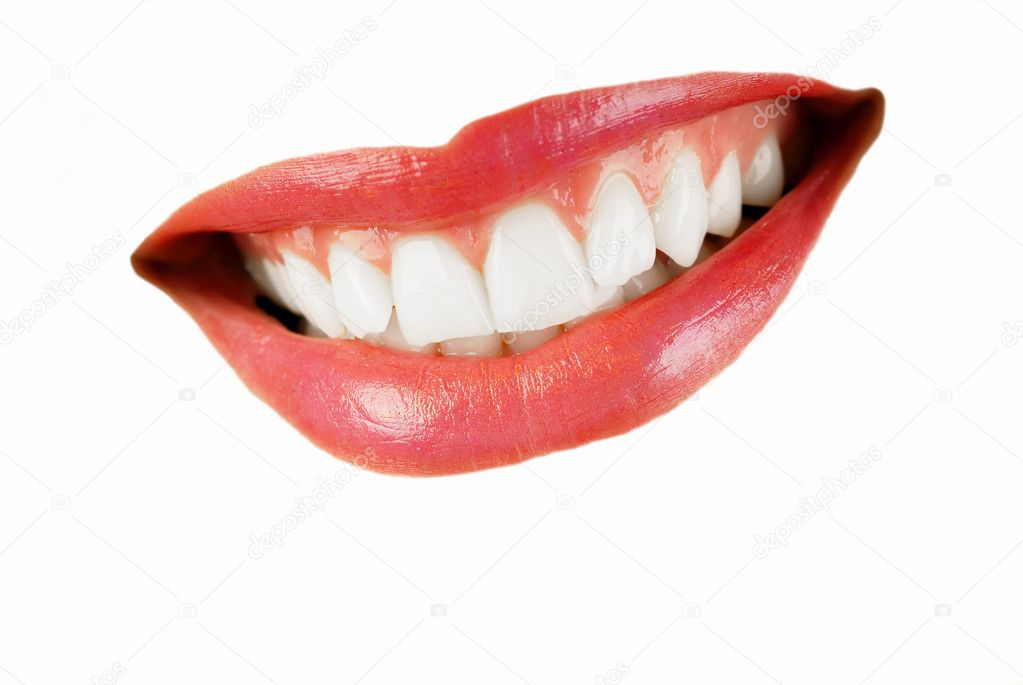 Smiling woman mouth with great  teeth isolated over white — Stock Photo #2735474