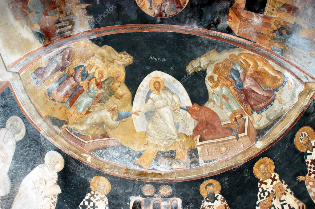 The Anastasis (Descent into Hell), Jesus pull Adam and Eve by their hands, fresco from Chora church in Istanbul, Turkey                                — Stock Photo #3030769