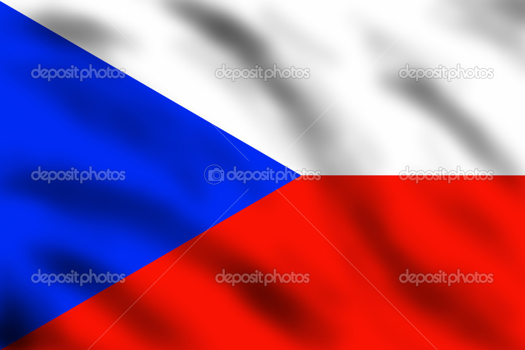 Czech flag waving on the wind, 3d illustration  Stock Photo #3182112