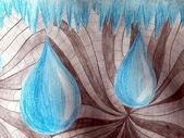 Gocce blu dipinto astratto — Foto Stock