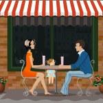 Family breakfast on the summer terrace — Stock Photo