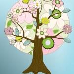 Vector flower tree card — Stock Photo