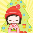 Japanese kokeshi christmas doll — Stock Photo