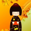Kokeshi doll card - Stock Photo