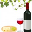 Red wine with grape and cheese — Stock Photo
