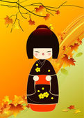 Kokeshi doll card — Stock Photo