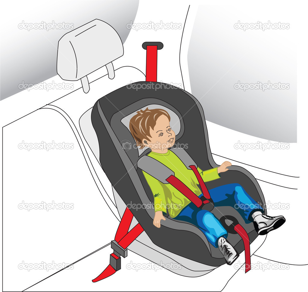 Auto seat for child, boy with safety belt on — Stock Photo #2738310