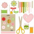 Stock Vector: Craft and needlework set