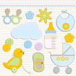 Stock Vector: Baby boy set