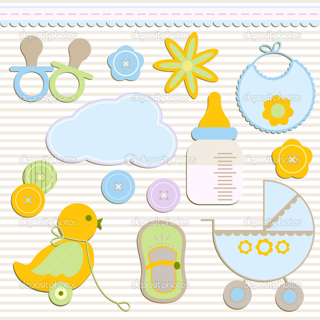 Elegant set of newborn elements, vector — Stock Vector #3079821