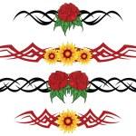 Flower tribal tattoo — Stock Vector