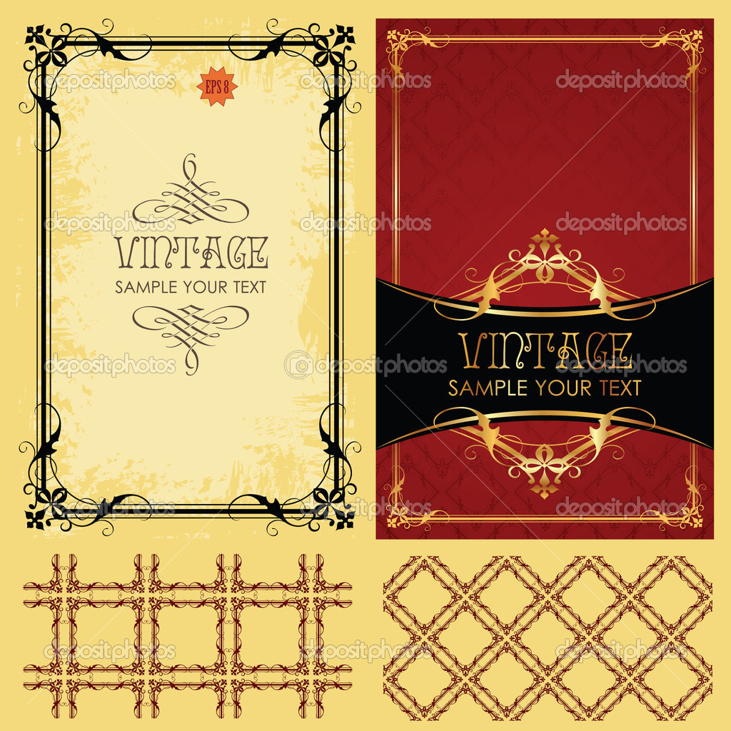 Vintage vector set: framework, pattern and background — Stock Vector #3133226