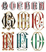 Set of interlocking letters — Vettoriale Stock