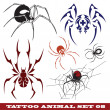 Templates spiders for tattoo — Stock Vector