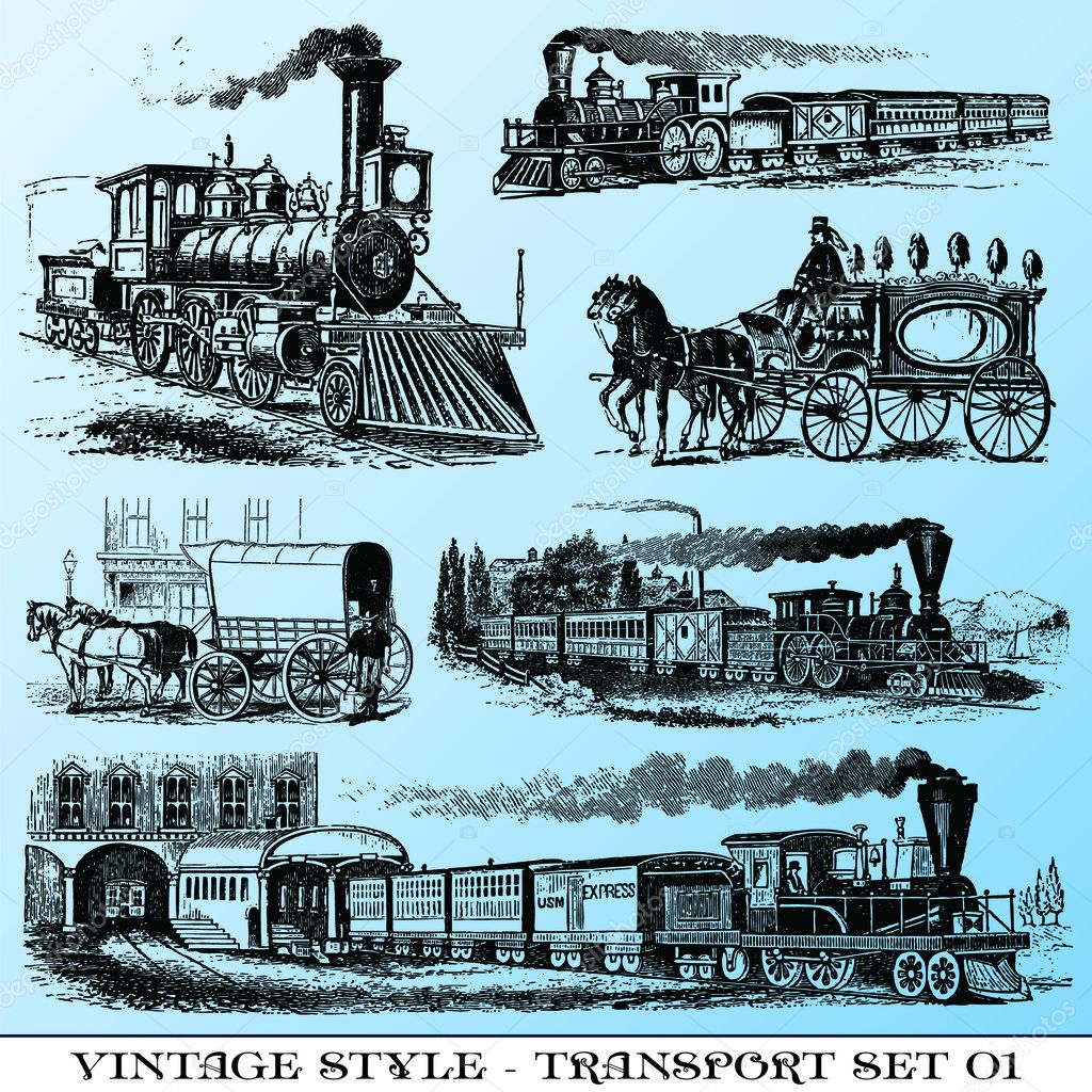 Various Vintage-style illustrations  - ancient transport set — Stock Vector #3573527