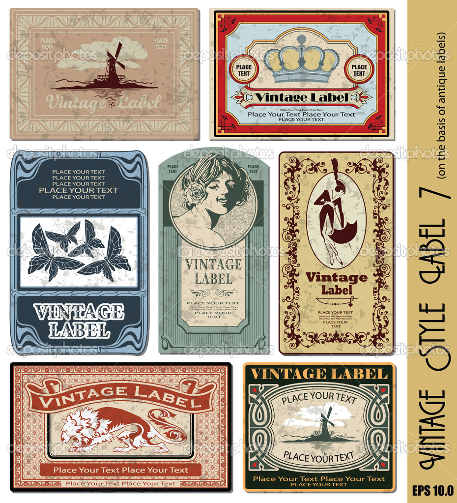 Vintage style label (eps 10.0 with grunge background)  Image vectorielle #3732003