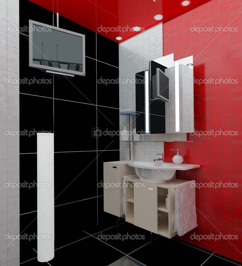 Modern bathroom in an apartment house 3d rendering — Stock Photo #3054597