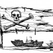 Sketch of pirates on the sea - Stock Photo