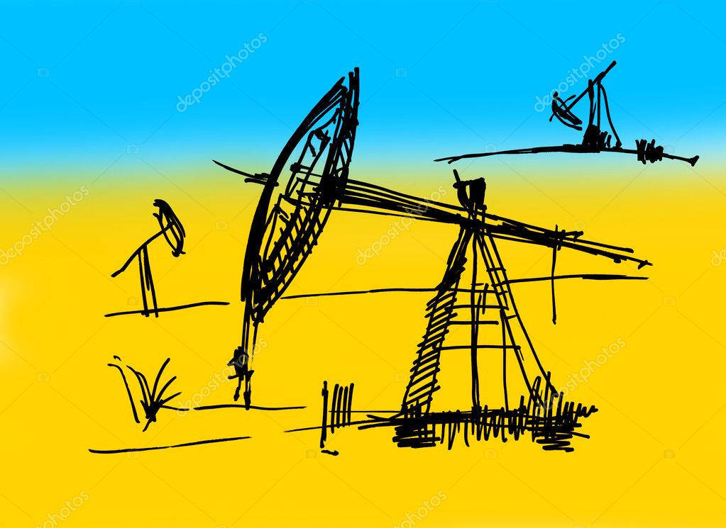 Oil derrick sketch on a yellow-dark blue background — Stock Photo #3828399