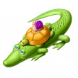 Stock Photo: Green crocodile with turtle