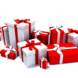 Gift boxes in white and red — Stock Photo