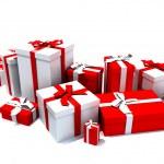 cajas de regalo en blanco y rojo — Foto de Stock