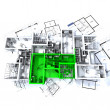 Green apartment mockup on blueprints — Stock Photo #2896440