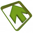 Green diagonal arrow icon — Stock Photo