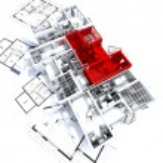 Red apartment mockup on blueprints — Stock Photo