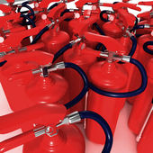 Closeup view of fire extinguishers — Stock Photo