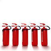 Line of fire extinguishers 2 — Stock Photo