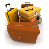 Luggage kit in ochre shades — Stock Photo