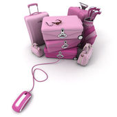 Online check-in in pink — Stock Photo