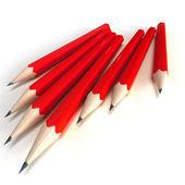 Matite rossi con punta nera — Foto Stock