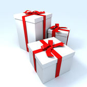 Three Big white gifts — Stock Photo
