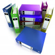 3D-rendering of a group of ring binders in different colors — Stock Photo #3515238
