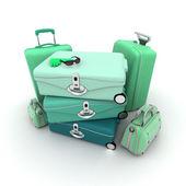 Gröna eleganta bagage — Stockfoto