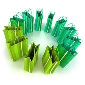緑の買い物袋円 — ストック写真