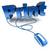 Online print in blue — Stock Photo