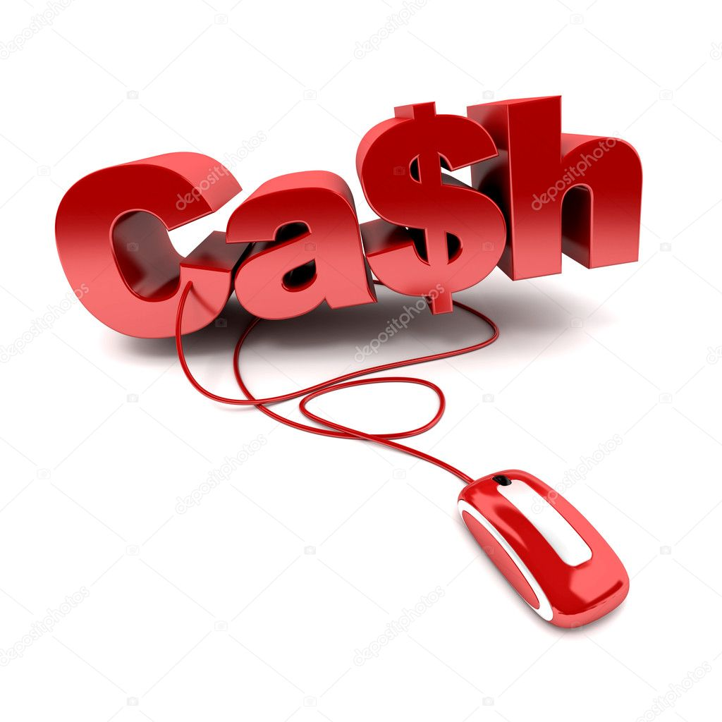 Red and white 3D illustration of the word cash connected to a computer mouse — Stock Photo #3515720