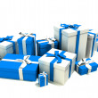Gift boxes in white and blue — Stock Photo