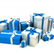 Gift boxes in white and blue — Stock Photo #3534749