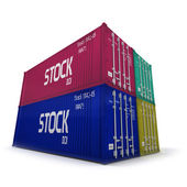 Four colorful cargo containers — Stock Photo